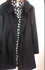 Forever21 Black Cute Coat Polka Dot Lining M